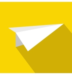 White paper plane icon flat style vector