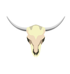 white skull with horns vector image