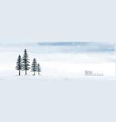 Winter and christmas watercolor hand-painted vector