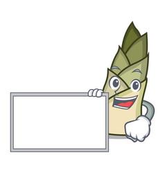 With board bamboo shoot character cartoon vector