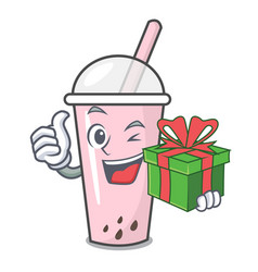 With gift raspberry bubble tea character cartoon vector