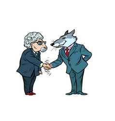 wolf and sheep business negotiations friendship vector image