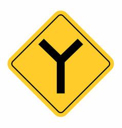 Y -junction traffic road sign vector