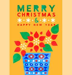 year watercolor folk art flower card vector image