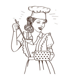 Young woman with retro clothes cooking soup on vector
