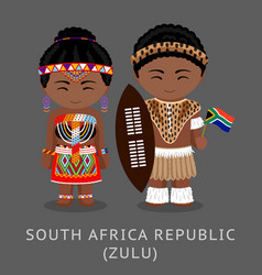 Zulu tribe zulus in national clothes with a flag vector