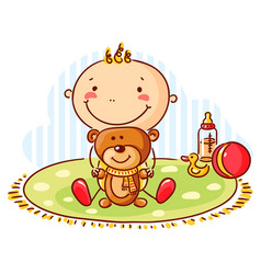baby and teddy bear vector image vector image