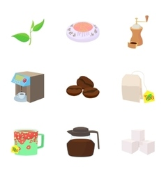 Coffee icons set cartoon style vector image