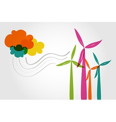 Colorful wind mills and clouds vector