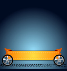 Wheels grunge tire track and orange ribbon vector image