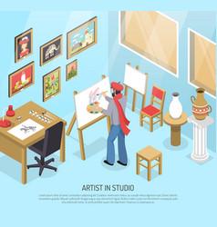 artist in studio isometric vector image vector image
