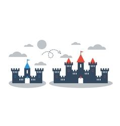 Big small castle comparison concept vector image