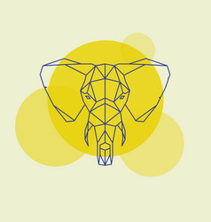 elephant head geometric lines silhouette vector image