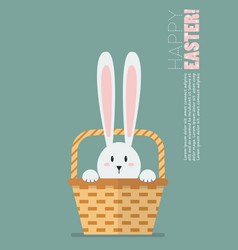 hand holding wicker basket with bunny ears vector image vector image