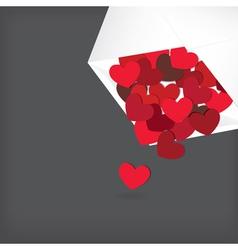 hearts in envelope vector image vector image
