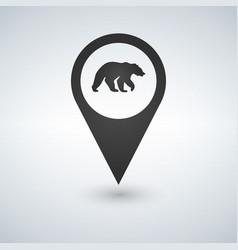 map pin pointer bear icon vector image