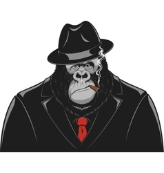 Monkey in a suit gangster vector image vector image