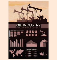 oil industry infographic tower oil exploration vector image