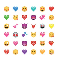 Set of emoticon with hearts isolated on white vector image vector image