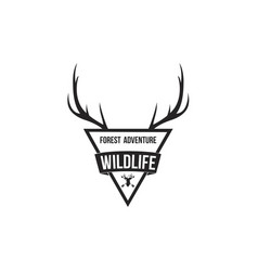 forest adventure with antlers badge logo design te vector image vector image