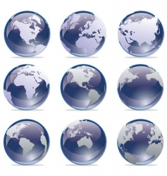 world map globe collection vector image vector image