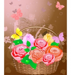 basket with roses vector image vector image