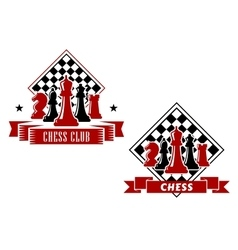 Chess emblems with chessboard and pieces vector image vector image