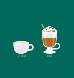 glace and flat white coffee drinks vector image vector image