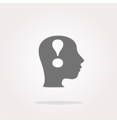Human head with exclamation mark icon web vector image vector image