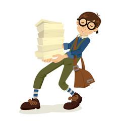 nerd boy cartoon vector image