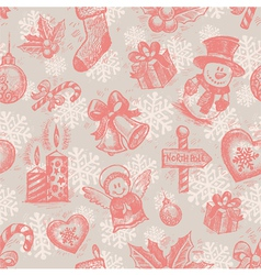 seamless hand drawn christmas background vector image