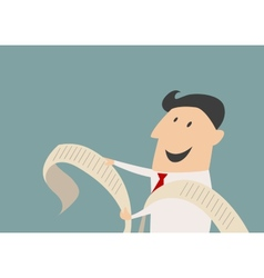 Smiling cartooned businessman with long document vector image vector image