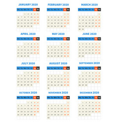 2020 year calendar monthly classic style template vector image
