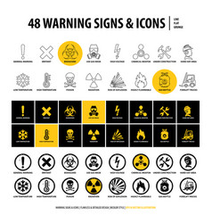 48 warning signs and icons vector image