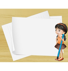 A girl thinking near the empty papers vector