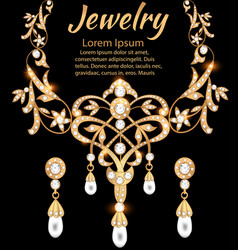 a gold jewelry set with precious stones necklace vector image