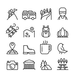 adventure travel icon set in thin line style vector image