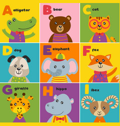 alphabet card with cute animals a to i vector image