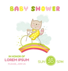 Baby Shower Card - Baby Girl Cat on a Bike vector