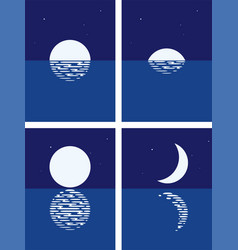 background set sea and moon vector image