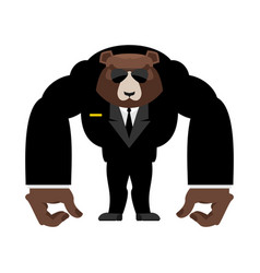 Bear bodyguard in black suit strong grizzly guard vector