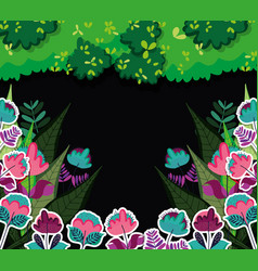 Beautiful forest at night vector