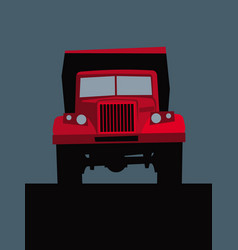 big red truck on road front view vector image