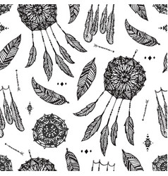 boho seamless pattern hand drawn dream vector image