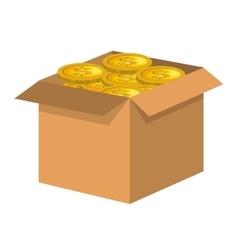 Box carton with money vector