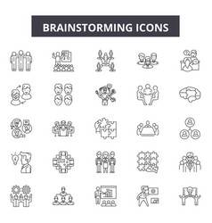 brainstorming line icons signs set vector image
