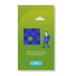 businessman holding last puzzle jigsaw competition vector image