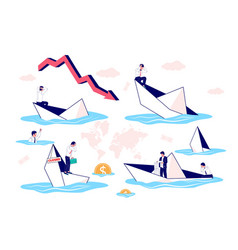 Businessman in sinking paper boat set flat vector