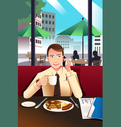 businessman on the phone while having breakfast vector image