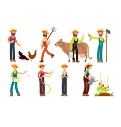 Cartoon farmer and gardeners with tools and farm vector